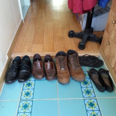 Here are some of our shoes at the entrance to our apartment. We follow the rules even at home!