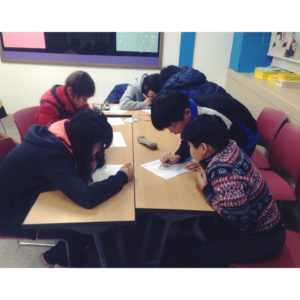 Here are some students racing through the word search competition.