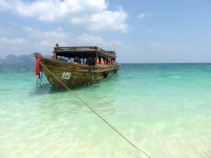 This is one of the longtail boats docked along the beach during our day spent island hopping in Krabi.