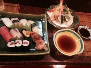 Delicious sushi and tempura at a restaurant in Gion